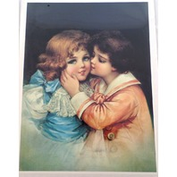 "Victorian Lithograph Print ""First Kiss"" Girl And Boy Innocent 12"" X 16"" New"