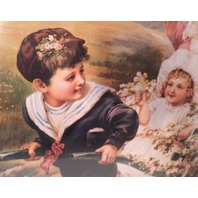 """Victorian Lithograph Print Picture """"Joyous Spring"""" Children Playing Girls  16X23"""