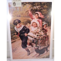 "Victorian Lithograph Print Picture ""Joyous Spring"" Children Playing Girls  16X23"