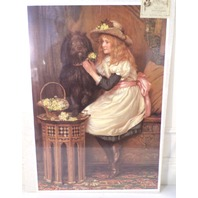 "Victorian Lithograph Print Picture ""Good Old Troy""  Girl With Puppy Dog 16X23"