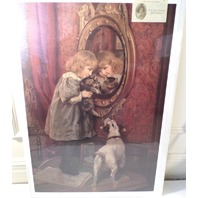 "Victorian Lithograph Print Picture ""Reflections"" Girl With Cat And Dog 16X23"