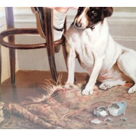 """Victorian Lithograph Print Picture """"Faithful Friend"""" Girl And Puppy Dog 12X23.5"""