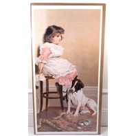 "Victorian Lithograph Print Picture ""Faithful Friend"" Girl And Puppy Dog 12X23.5"