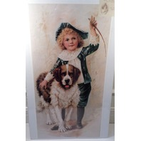 "Victorian Lithograph Print Picture ""Comrades"" Little Boy 12X23.5"