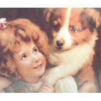 "Victorian Lithograph Print Picture ""Hold On"" Girl Child And Puppy Dog 12X16"