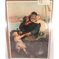 "Victorian Lithograph Print ""Me First, Grandpa!"" Grandfather & Children Nautical"