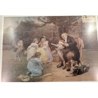 Victorian Lithograph Printsunshine Of His Heart Grandpa With Children Playing