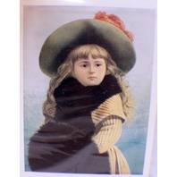 "Victorian Lithograph Print Picture ""It'S Cold Outside"" Girl With Hat & Muff"