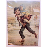 "Victorian Lithograph Print Picture ""Skating Duo"" Boy And Girl"