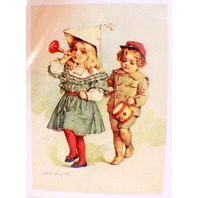 "Victorian Lithograph Print Picture ""Marching Band"" Boy And Girl"