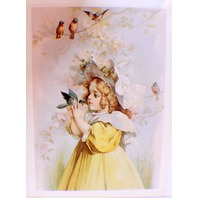 "Victorian Lithograph Print Picture ""Little Girl With Robin"""