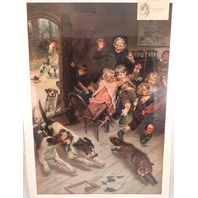 "Victorian Lithograph Print ""Late For School"" Children With Teacher Fox And Dogs"