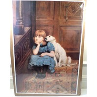 "Victorian Lithograph Print Picture ""Sympathy"" Little Girl With Puppy Dog  16X23"