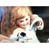 """Victorian Lithograph Print Picture """"A Watchful Eye"""" Girl With Puppies Dog 16X23"""