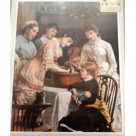 """Victorian Lithograph Print Picture """"Stirring The Christmas Pudding"""" 16.5"""" X 20.5"""