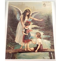 "Victorian Lithograph Print ""Guardian Angel On The Bridge"" With Kids Children New"