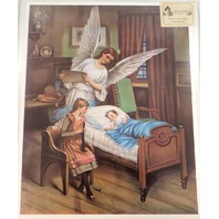 "Victorian Lithograph Print ""Angel And Sister Watch Over Baby"" Infant Child  New"