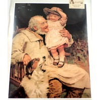 "Victorian Lithograph Print ""Grandfather'S Pet"" Girl With Grandpa Man And Dog New"