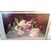 "Victorian Lithograph Print Picture ""Bowl Of Roses"" Still Life 16X23"