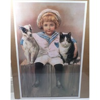 "Victorian Lithograph Print Picture ""Keeping Peace"" Little Boy Cat Dog Trio 13X20"