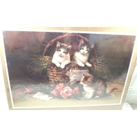 "Victorian Lithograph Print Picture ""Kittens In Mischief"" Three Little Cats 13X20"