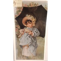 "Victorian Lithograph Print ""Mary and her Lamb"" Girl with Pet and Umbrella New"