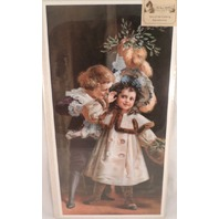 "Victorian Lithograph Print ""Under The Misseltoe"" Girl And Boy Stealing A Kiss"