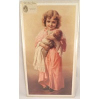 "Victorian Lithograph Print ""Childhood Memories"" Girl With Her Baby Doll New"
