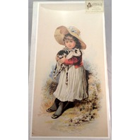 "Victorian Lithograph Print Picture ""Armful"" Girl With Baby Goat 12"" X 23.5"""