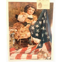 "Victorian Lithograph Print ""More Stars For The Flag"" Child Patriotism New"