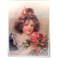 "Victorian Lithograph Print ""Which Is Sweeter?"" Girl With Flower Bouquette New"