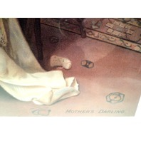 """Victorian Lithograph Print Picture """"Tender Moments"""" Mother And Baby Child 12X16"""