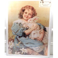 Victorian Lithograph Print Picture Forever Friends Girl Child With Bunny  12X16