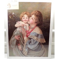 "Victorian Lithograph Print Picture ""Tender Moments"" Mother And Baby Child 12X16"