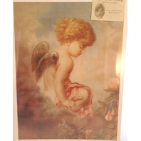 "Victorian Lithograph Print ""Day Dreams"" Dnagel Sitting On A Cloud  12"" X 16"" New"
