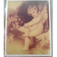 "Victorian Lithograph Print Picture ""Cupid'S Rose Garden"" Angel Baby 12X16"