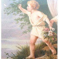 "Victorian Lithograph Print Angel Watching Over Children Kids 12"" X 16"" New"