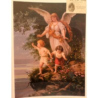 "Victorian Lithograph Print Angel Watching Over Children Kids 12"" X 16"" New"