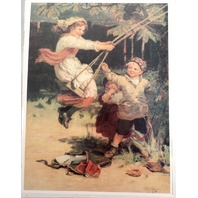 """Victorian Lithograph Print Picture """"After School"""" Children Boy And Girl 12X16"""