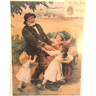 "Victorian Lithograph Print ""Off To The Fair"" Grandpa And Children 12"" X 16"" New"