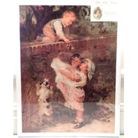 "Victorian Lithograph Print Picture ""Sweet Treets"" Children On A Bridge 12X16"