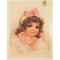 """Victorian Lithograph Print """"Buttons And Bows"""" Girl Child Innocence 12"""" X 16"""" New"""