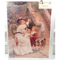 "Victorian Lithograph Print Picture ""Bubbles"" Mother Children And Puppy Dog 12X16"