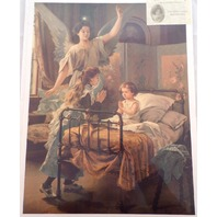 Victorian Lithograph Print Angel At Prayer Time Children At Bedtime 12 X 16 New