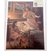 "Victorian Lithograph Print ""Angel Shhh...Over A Child And Baby"" Sleeping New"