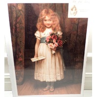 """Victorian Lithograph Print Picture """"Special Greeting"""" Girl Child W/Flowers 12X16"""