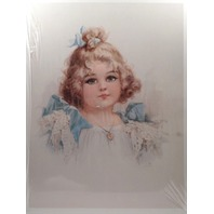 "Victorian Lithograph Print ""Little Blue Eyes"" Girl Child Innocence 12"" X 16"" New"