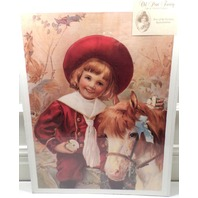 "Victorian Lithograph Print ""We Go Halves"" Boy And Horse Equestrian Rider 12X16"