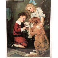 """Victorian Lithograph Print Picture """"Family Doctor"""" Children Kids With Dog 9"""" X 7"""""""