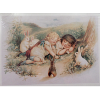 "Victorian Lithograph Print Picture Sleeping Girls And Bunnies Children 5"" X 7"""